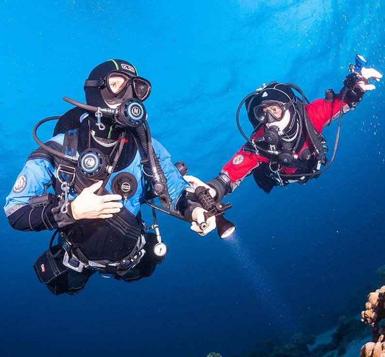 Wear diving gear